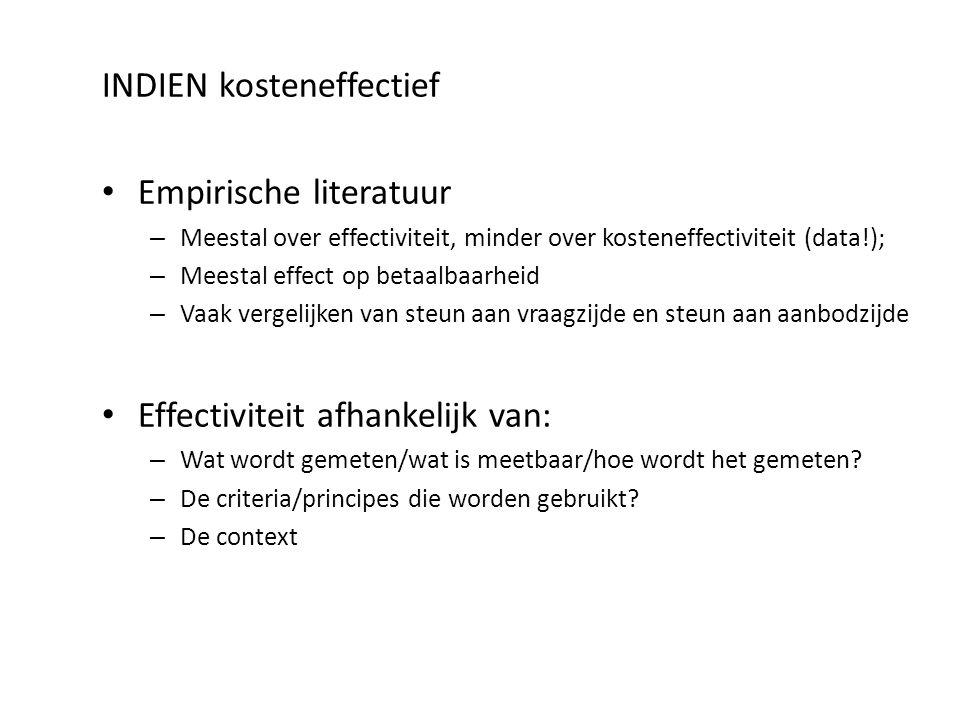 INDIEN kosteneffectief Empirische literatuur – Meestal over effectiviteit, minder over kosteneffectiviteit (data!); – Meestal effect op betaalbaarheid