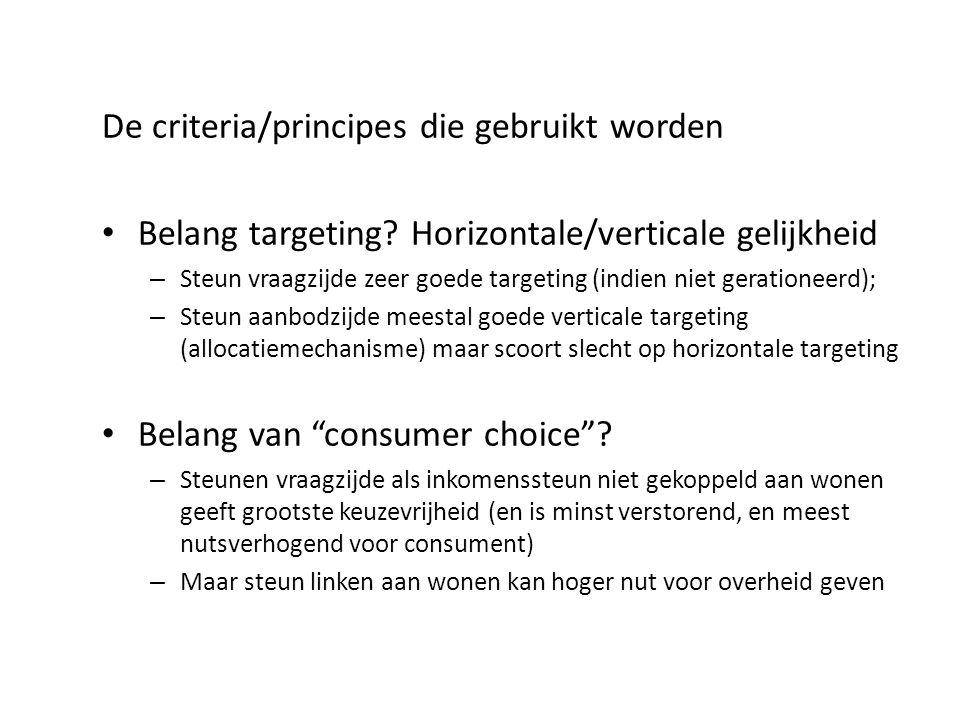 De criteria/principes die gebruikt worden Belang targeting? Horizontale/verticale gelijkheid – Steun vraagzijde zeer goede targeting (indien niet gera