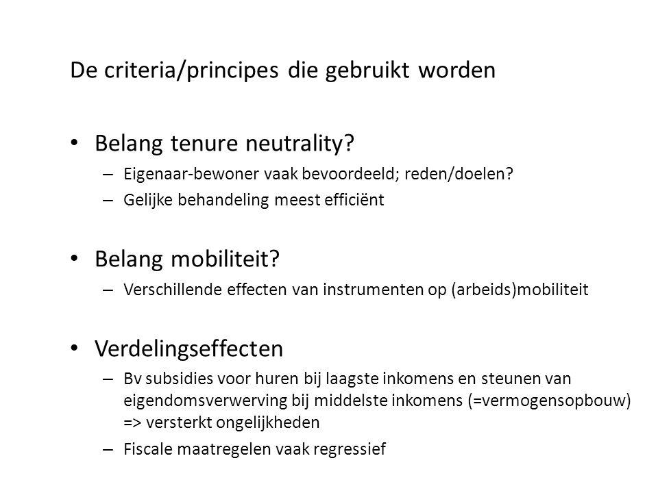 De criteria/principes die gebruikt worden Belang tenure neutrality? – Eigenaar-bewoner vaak bevoordeeld; reden/doelen? – Gelijke behandeling meest eff
