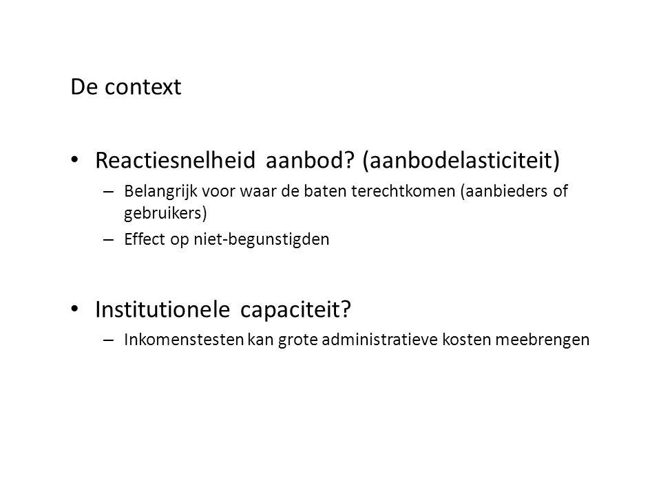 De context Reactiesnelheid aanbod? (aanbodelasticiteit) – Belangrijk voor waar de baten terechtkomen (aanbieders of gebruikers) – Effect op niet-begun