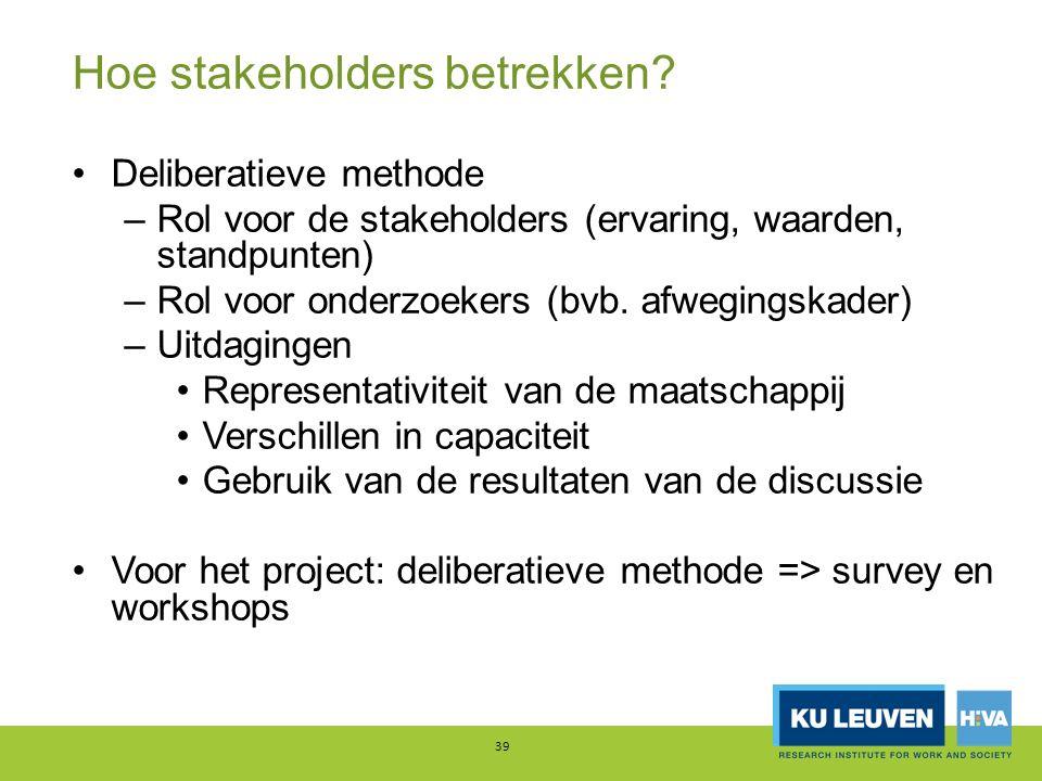 Hoe stakeholders betrekken? Deliberatieve methode –Rol voor de stakeholders (ervaring, waarden, standpunten) –Rol voor onderzoekers (bvb. afwegingskad
