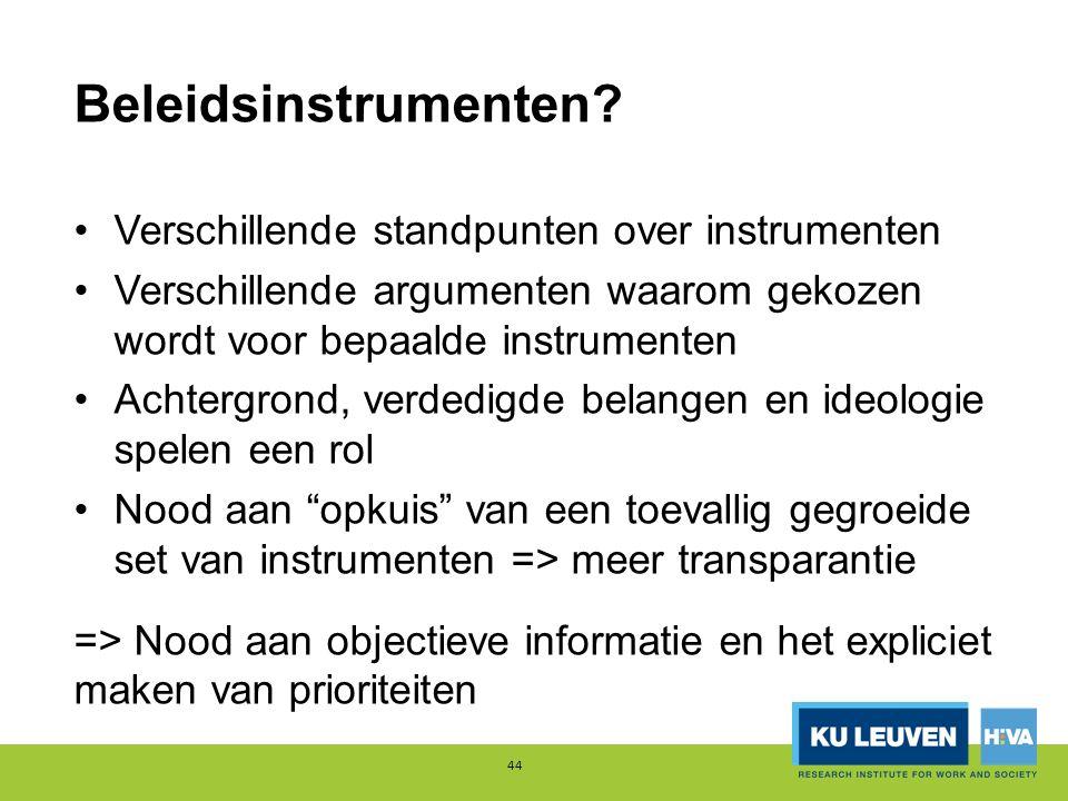 Beleidsinstrumenten? Verschillende standpunten over instrumenten Verschillende argumenten waarom gekozen wordt voor bepaalde instrumenten Achtergrond,
