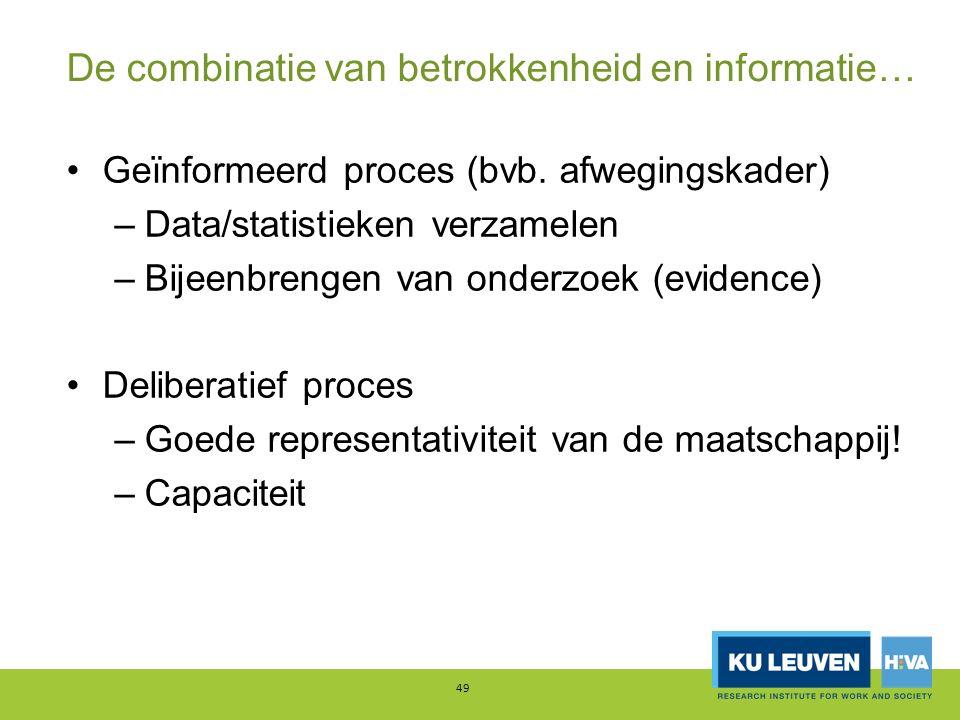 De combinatie van betrokkenheid en informatie… Geïnformeerd proces (bvb. afwegingskader) –Data/statistieken verzamelen –Bijeenbrengen van onderzoek (e