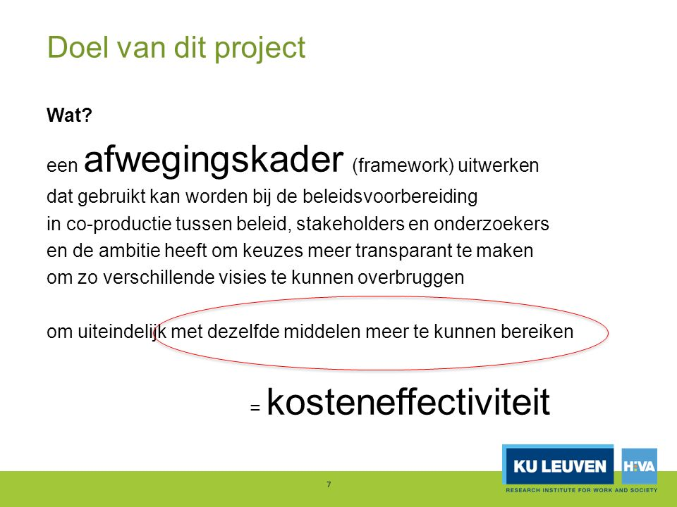 Kosteneffectief woonbeleid 8 een woonbeleid dat gegeven vooropgestelde doelen en gegeven de beschikbare middelen leidt tot maximale waarde voor de maatschappij = hoe meer doen met dezelfde middelen.