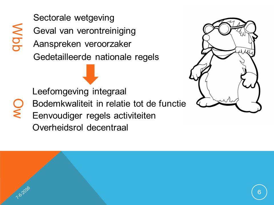 Voorkomen verontreinigingen Ordenen en faciliteren gebruik bodem Historische veront- reinigingen Waarborgen van de gebruikswaarde van de bodem en het faciliteren van het duurzaam gebruik 7 7-6-2016