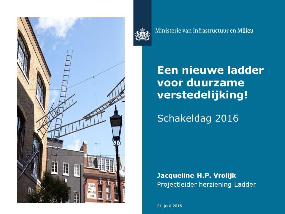 Een nieuwe ladder voor duurzame verstedelijking. Schakeldag 2016 Jacqueline H.P.