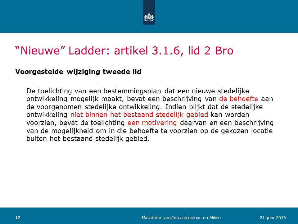 Nieuwe Ladder: artikel 3.1.6, lid 2 Bro Voorgestelde wijziging tweede lid De toelichting van een bestemmingsplan dat een nieuwe stedelijke ontwikkeling mogelijk maakt, bevat een beschrijving van de behoefte aan de voorgenomen stedelijke ontwikkeling.