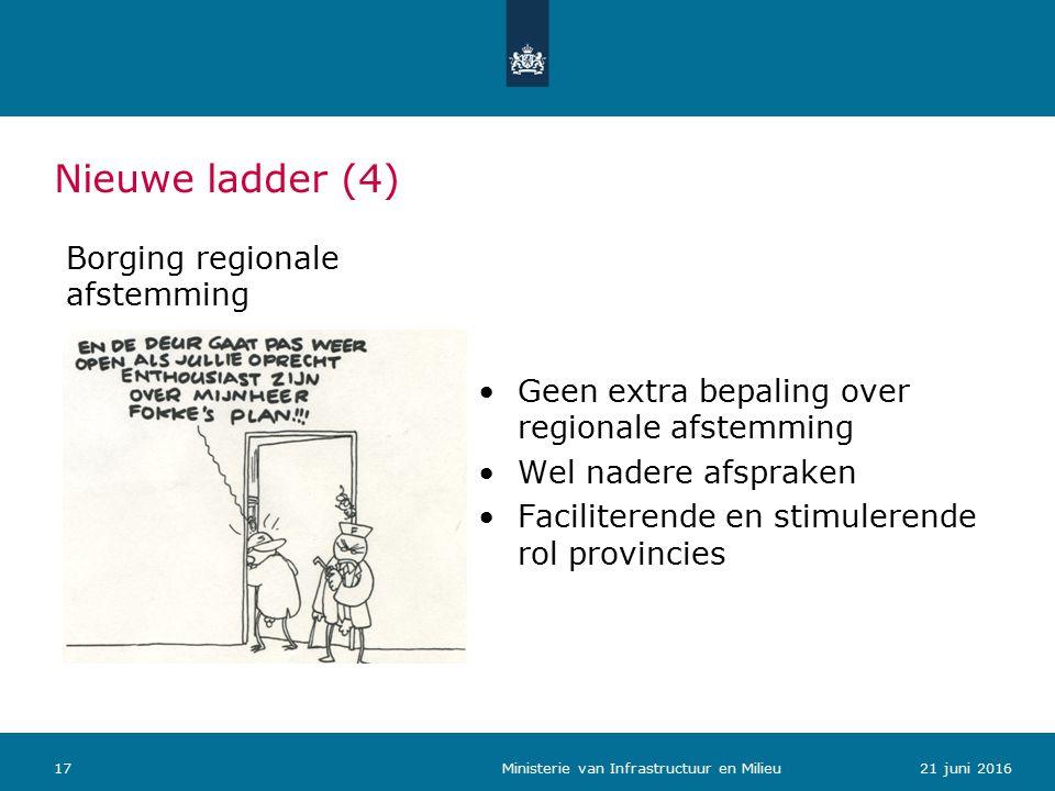 Nieuwe ladder (4) Borging regionale afstemming Geen extra bepaling over regionale afstemming Wel nadere afspraken Faciliterende en stimulerende rol provincies 1721 juni 2016 Ministerie van Infrastructuur en Milieu