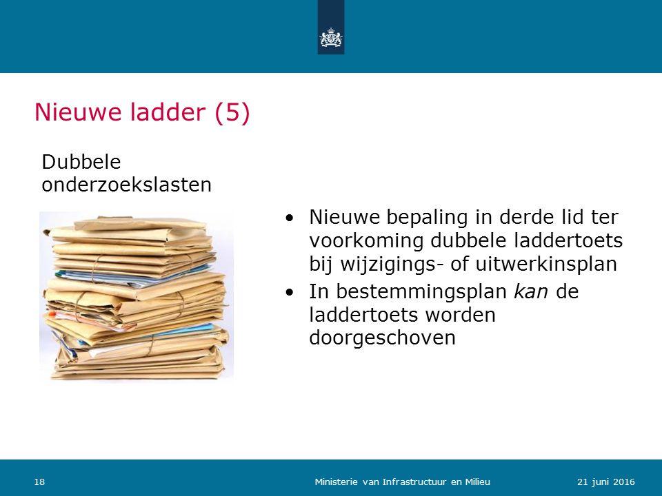 Nieuwe ladder (5) Dubbele onderzoekslasten Nieuwe bepaling in derde lid ter voorkoming dubbele laddertoets bij wijzigings- of uitwerkinsplan In bestemmingsplan kan de laddertoets worden doorgeschoven 1821 juni 2016 Ministerie van Infrastructuur en Milieu