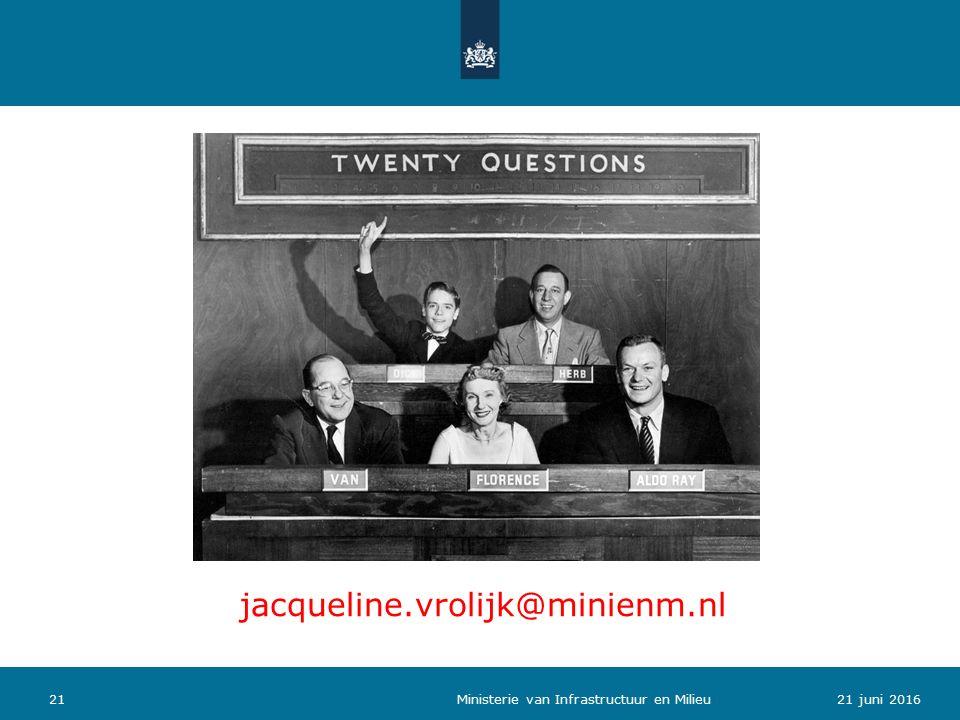 2121 juni 2016 Ministerie van Infrastructuur en Milieu jacqueline.vrolijk@minienm.nl