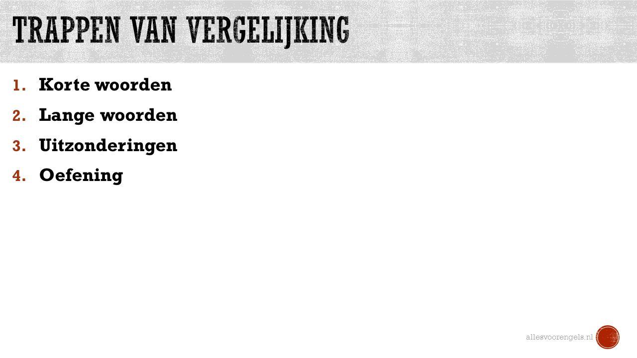 1. Korte woorden 2. Lange woorden 3. Uitzonderingen 4. Oefening allesvoorengels.nl