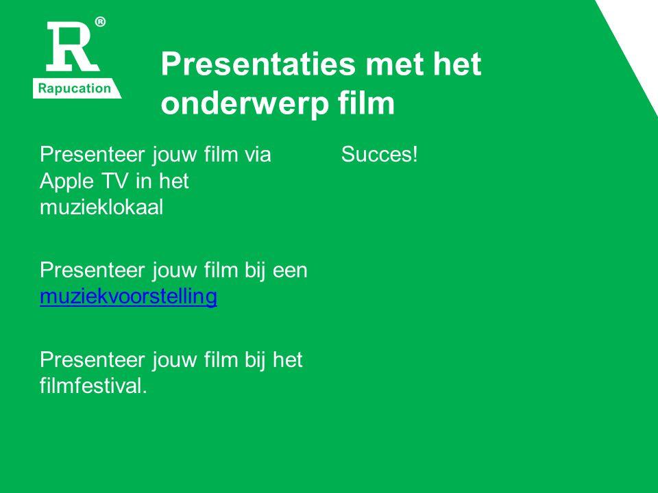 Presentaties met het onderwerp film Presenteer jouw film via Apple TV in het muzieklokaal Presenteer jouw film bij een muziekvoorstelling muziekvoorstelling Presenteer jouw film bij het filmfestival.