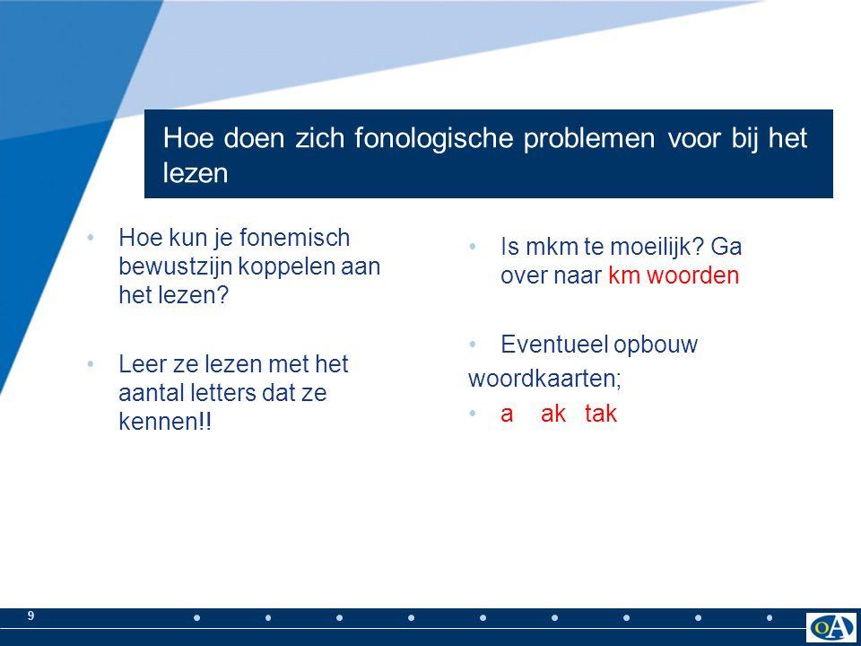 9 Hoe doen zich fonologische problemen voor bij het lezen Hoe kun je fonemisch bewustzijn koppelen aan het lezen.