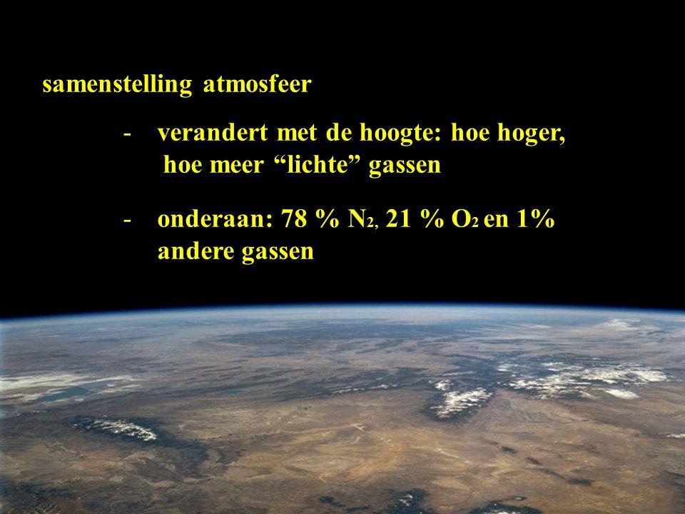 "samenstelling atmosfeer -verandert met de hoogte: hoe hoger, hoe meer ""lichte"" gassen -onderaan: 78 % N 2, 21 % O 2 en 1% andere gassen"