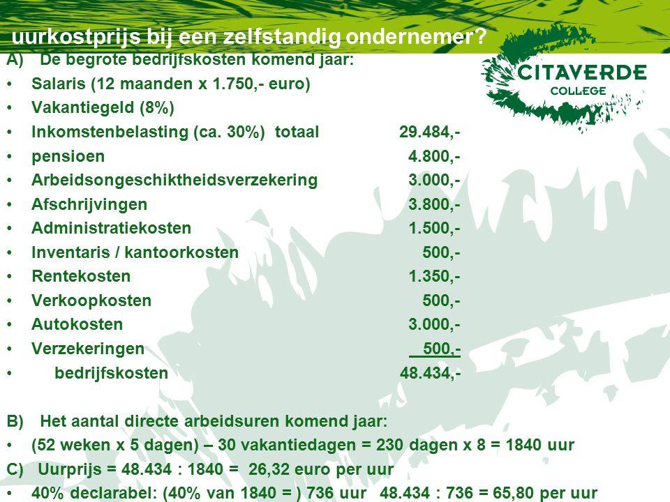 uurkostprijs bij een zelfstandig ondernemer? A)De begrote bedrijfskosten komend jaar: Salaris (12 maanden x 1.750,- euro) Vakantiegeld (8%) Inkomstenb