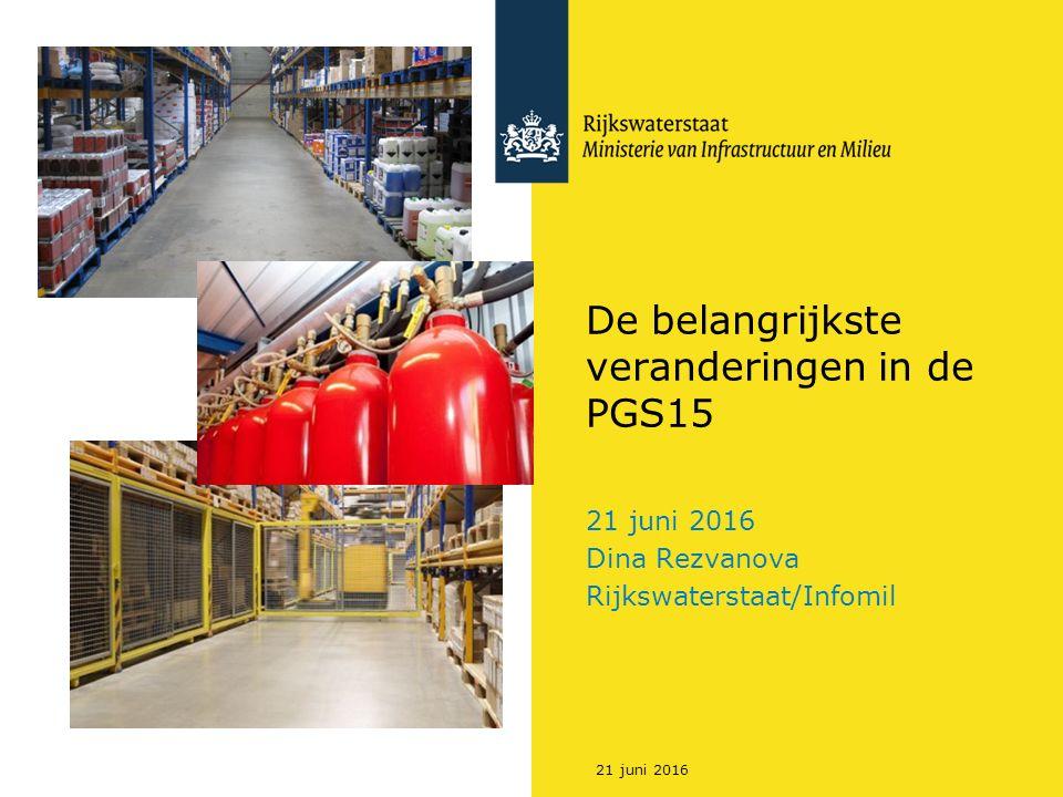 De belangrijkste veranderingen in de PGS15 21 juni 2016 Dina Rezvanova Rijkswaterstaat/Infomil 21 juni 2016
