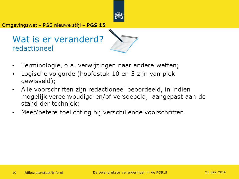 Rijkswaterstaat/Infomil10 De belangrijkste veranderingen in de PGS15 Wat is er veranderd? redactioneel Terminologie, o.a. verwijzingen naar andere wet