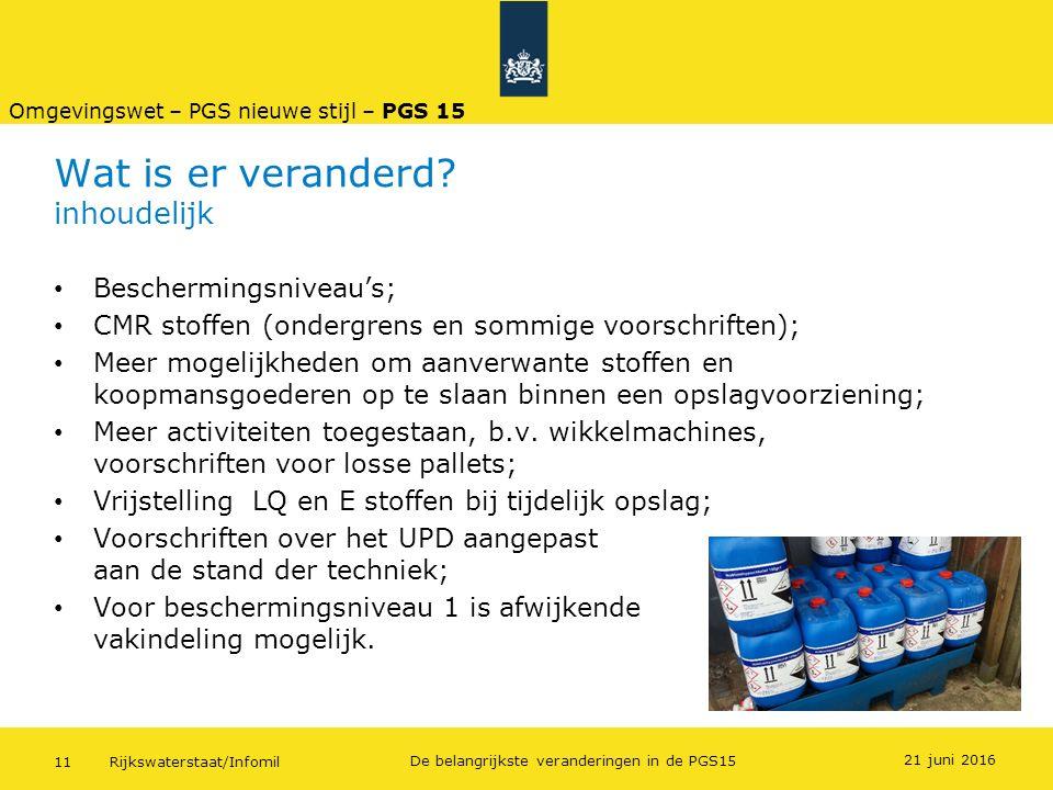 Rijkswaterstaat/Infomil11 De belangrijkste veranderingen in de PGS15 Wat is er veranderd? inhoudelijk Beschermingsniveau's; CMR stoffen (ondergrens en