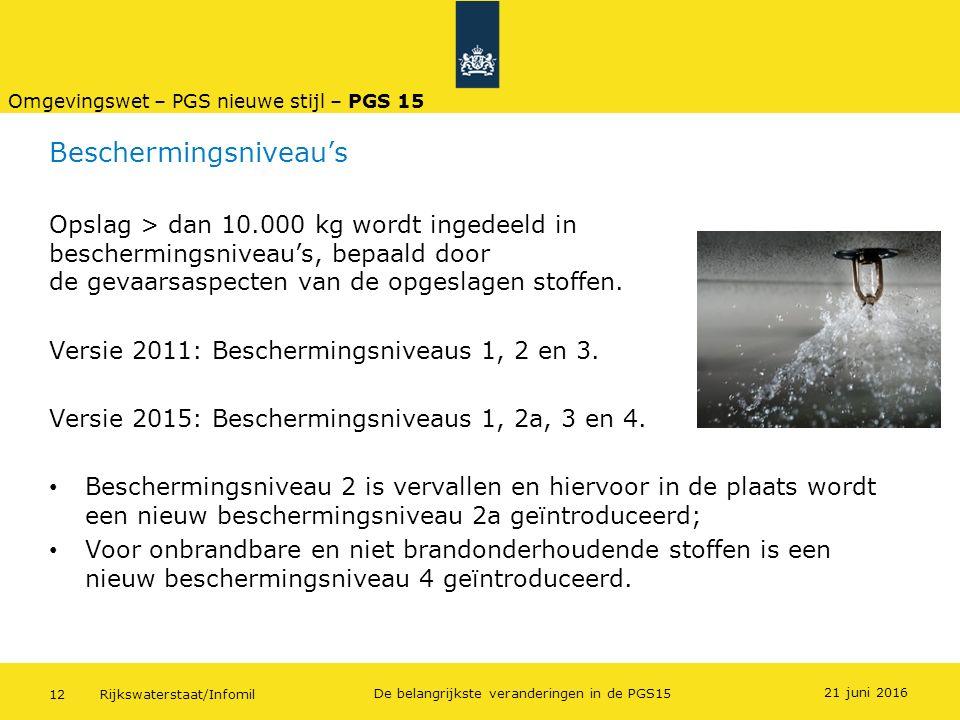 Rijkswaterstaat/Infomil12 De belangrijkste veranderingen in de PGS15 Beschermingsniveau's Opslag > dan 10.000 kg wordt ingedeeld in beschermingsniveau