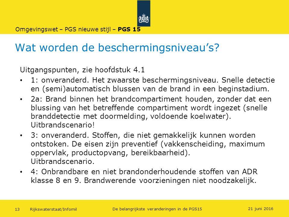 Rijkswaterstaat/Infomil13 De belangrijkste veranderingen in de PGS15 Wat worden de beschermingsniveau's? Uitgangspunten, zie hoofdstuk 4.1 1: onverand