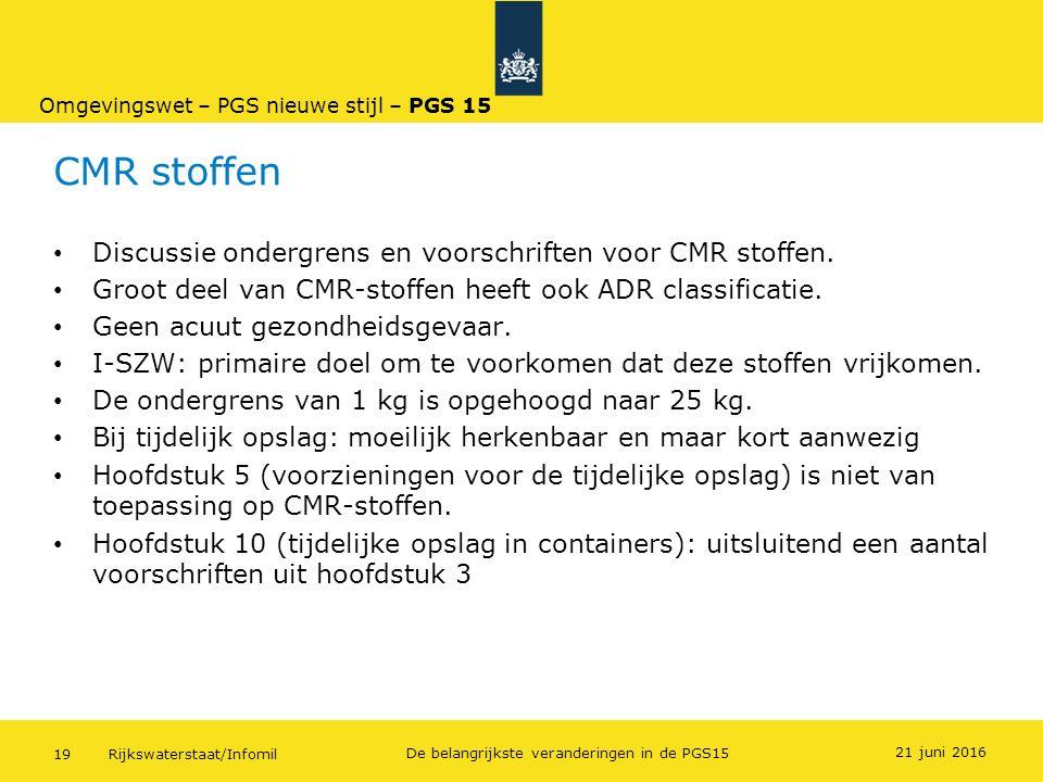 Rijkswaterstaat/Infomil19 De belangrijkste veranderingen in de PGS15 CMR stoffen Discussie ondergrens en voorschriften voor CMR stoffen. Groot deel va