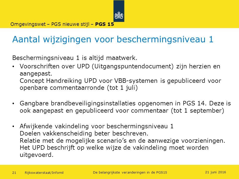 Rijkswaterstaat/Infomil21 De belangrijkste veranderingen in de PGS15 Aantal wijzigingen voor beschermingsniveau 1 Beschermingsniveau 1 is altijd maatw