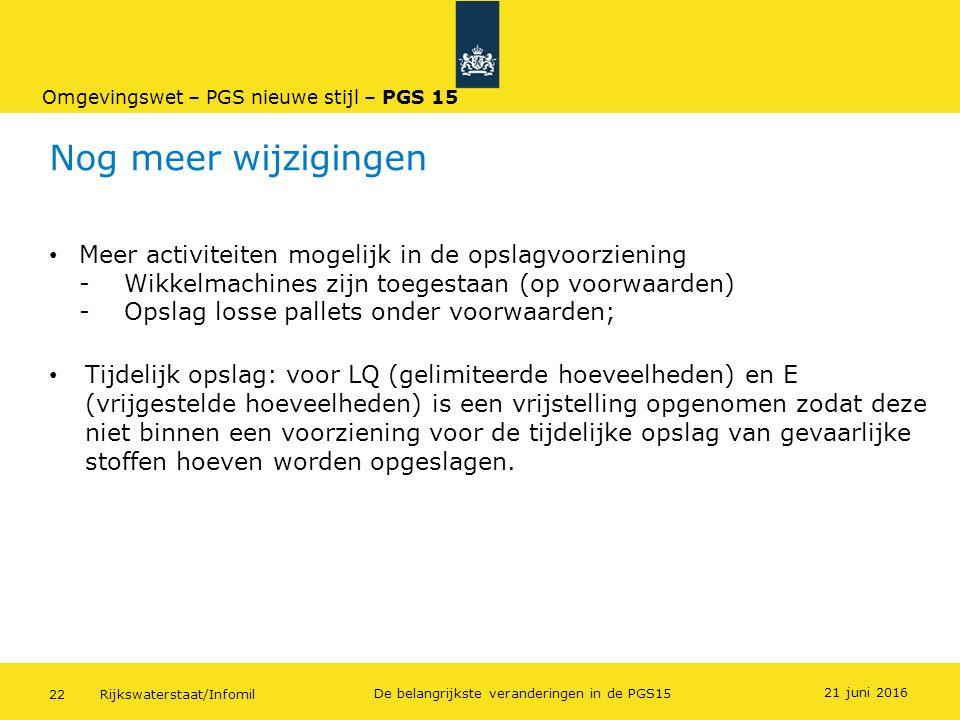 Rijkswaterstaat/Infomil22 De belangrijkste veranderingen in de PGS15 Nog meer wijzigingen Meer activiteiten mogelijk in de opslagvoorziening - Wikkelm