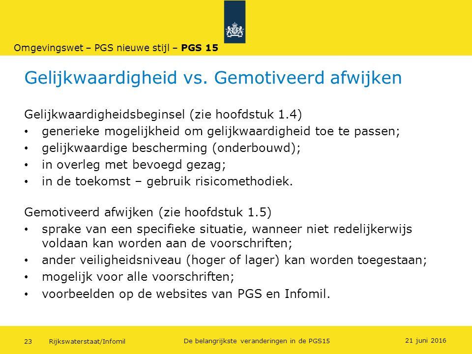 Rijkswaterstaat/Infomil23 De belangrijkste veranderingen in de PGS15 Gelijkwaardigheid vs. Gemotiveerd afwijken Gelijkwaardigheidsbeginsel (zie hoofds