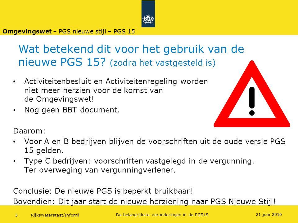 Rijkswaterstaat/Infomil5 De belangrijkste veranderingen in de PGS15 21 juni 2016 Activiteitenbesluit en Activiteitenregeling worden niet meer herzien