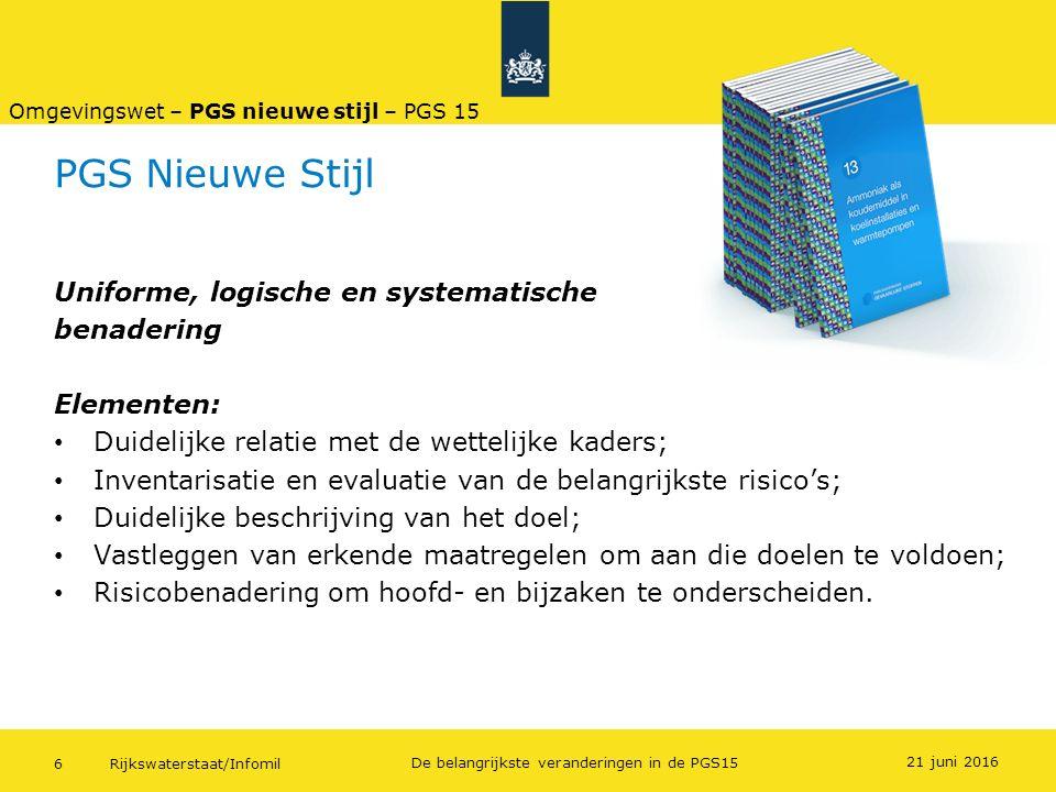 Rijkswaterstaat/Infomil6 De belangrijkste veranderingen in de PGS15 PGS Nieuwe Stijl Uniforme, logische en systematische benadering Elementen: Duideli