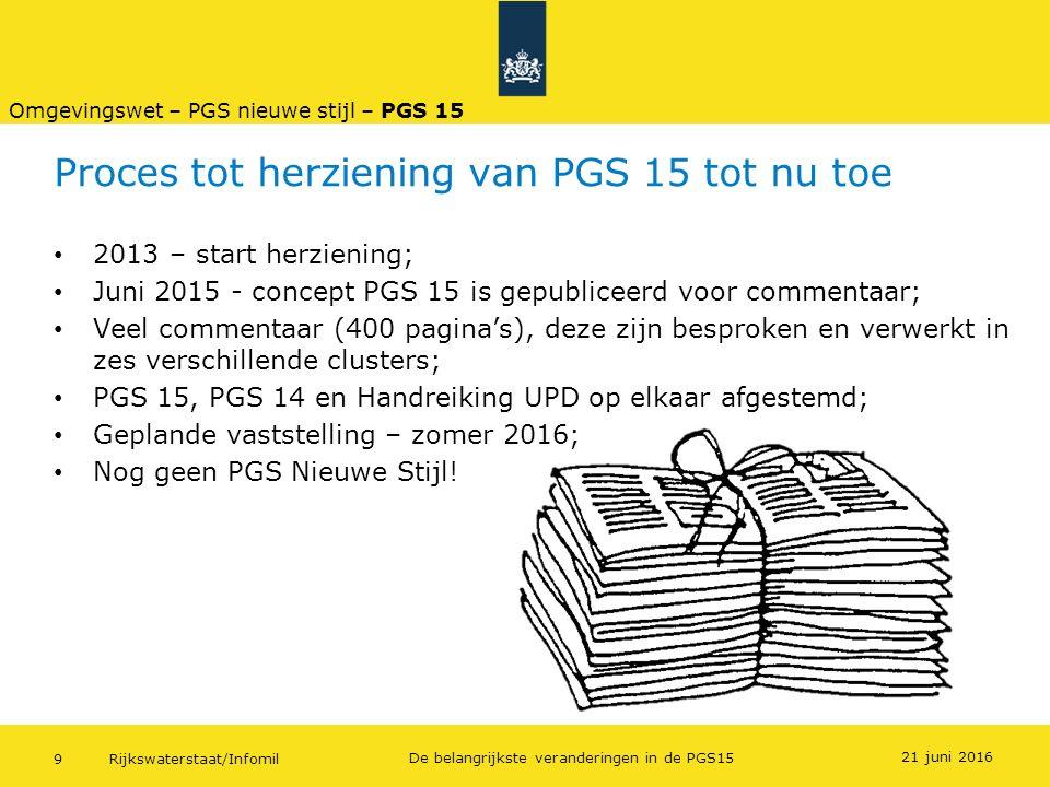 Rijkswaterstaat/Infomil9 De belangrijkste veranderingen in de PGS15 Proces tot herziening van PGS 15 tot nu toe 2013 – start herziening; Juni 2015 - c