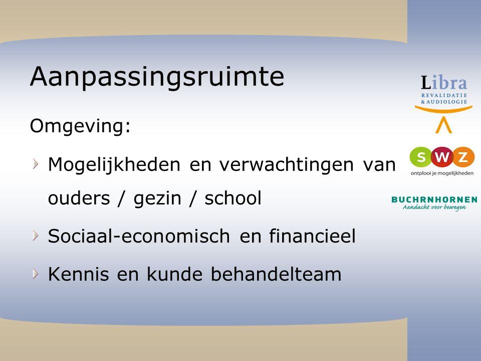 Aanpassingsruimte Omgeving: Mogelijkheden en verwachtingen van ouders / gezin / school Sociaal-economisch en financieel Kennis en kunde behandelteam