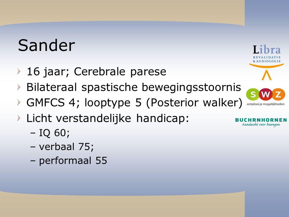 Sander 16 jaar; Cerebrale parese Bilateraal spastische bewegingsstoornis GMFCS 4; looptype 5 (Posterior walker) Licht verstandelijke handicap: –IQ 60; –verbaal 75; –performaal 55