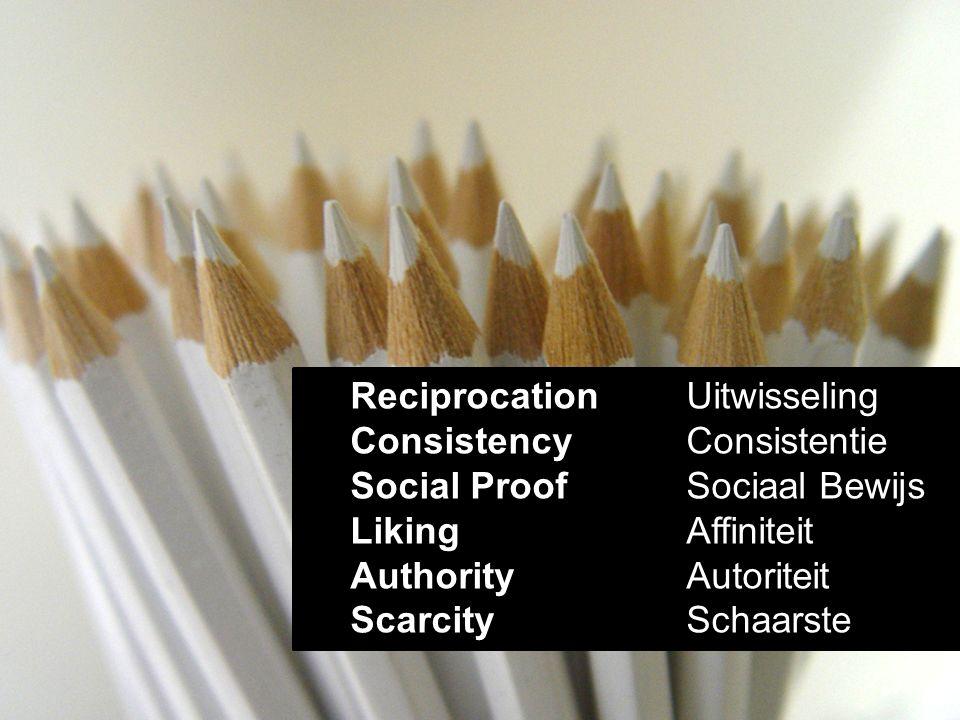 Reciprocation Uitwisseling Consistency Consistentie Social ProofSociaal Bewijs LikingAffiniteit AuthorityAutoriteit ScarcitySchaarste