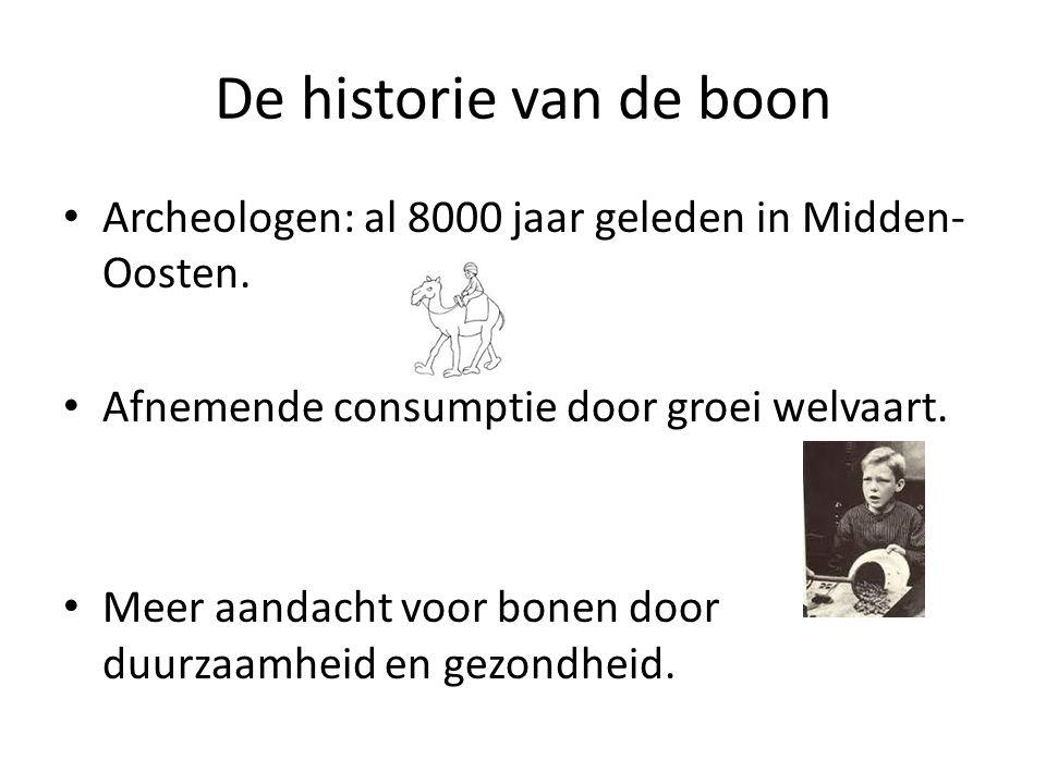 De historie van de boon Archeologen: al 8000 jaar geleden in Midden- Oosten. Afnemende consumptie door groei welvaart. Meer aandacht voor bonen door d