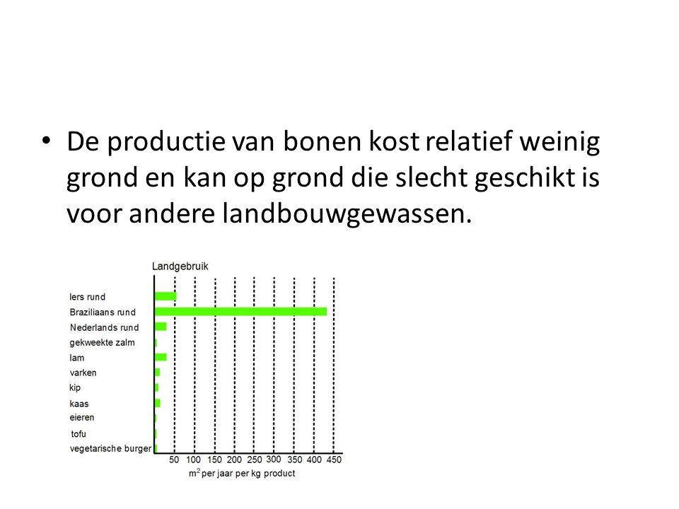 De productie van bonen kost relatief weinig grond en kan op grond die slecht geschikt is voor andere landbouwgewassen.