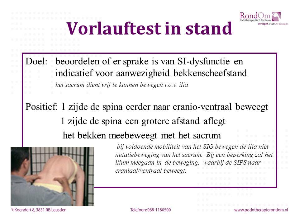 Vorlauftest in stand Doel:beoordelen of er sprake is van SI-dysfunctie en indicatief voor aanwezigheid bekkenscheefstand het sacrum dient vrij te kunnen bewegen t.o.v.