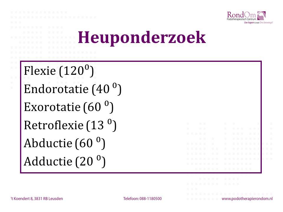 Heuponderzoek Flexie (120⁰) Endorotatie (40 ⁰) Exorotatie (60 ⁰) Retroflexie (13 ⁰) Abductie (60 ⁰) Adductie (20 ⁰)