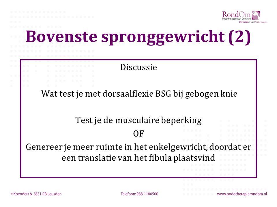 Bovenste spronggewricht (2) Discussie Wat test je met dorsaalflexie BSG bij gebogen knie Test je de musculaire beperking OF Genereer je meer ruimte in het enkelgewricht, doordat er een translatie van het fibula plaatsvind