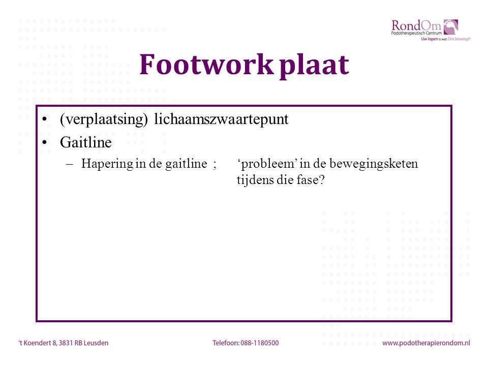 Footwork plaat (verplaatsing) lichaamszwaartepunt Gaitline –Hapering in de gaitline ; 'probleem' in de bewegingsketen tijdens die fase?