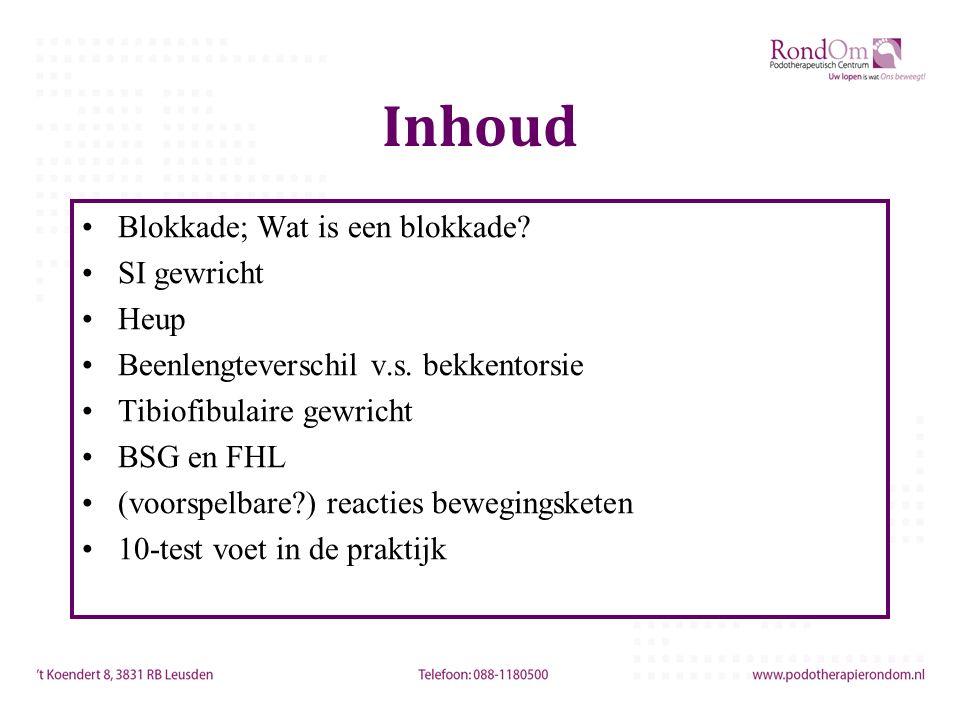 Inhoud Blokkade; Wat is een blokkade? SI gewricht Heup Beenlengteverschil v.s. bekkentorsie Tibiofibulaire gewricht BSG en FHL (voorspelbare?) reactie