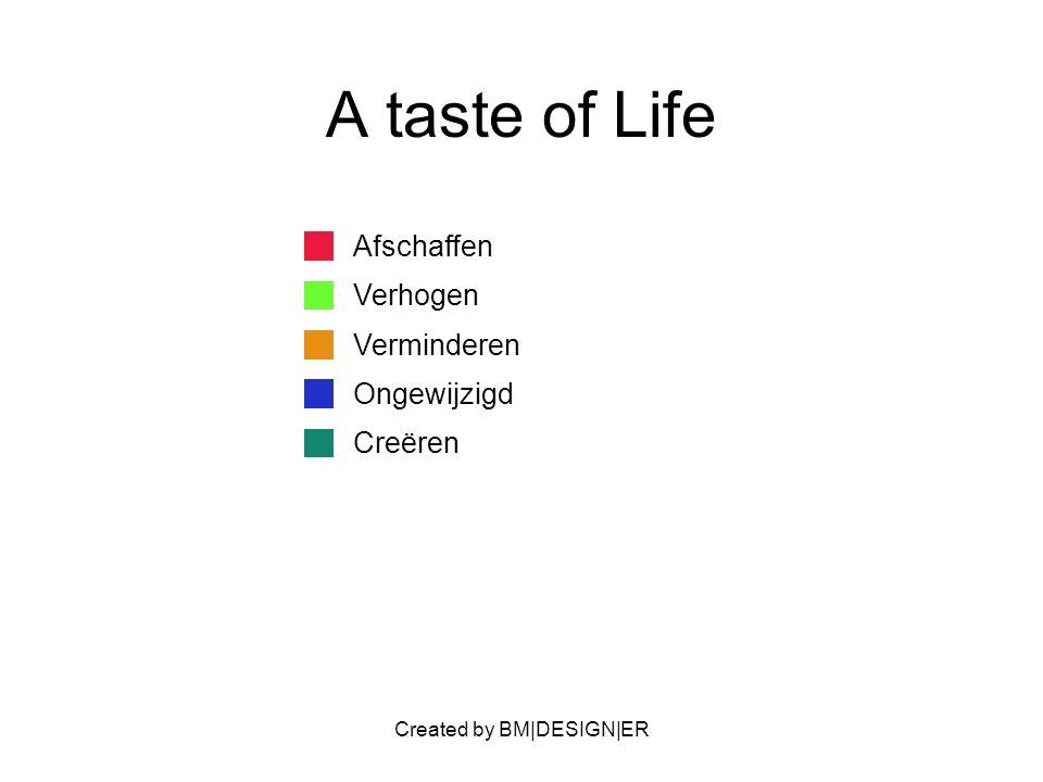 Created by BM|DESIGN|ER A taste of Life Afschaffen Verhogen Verminderen Ongewijzigd Creëren