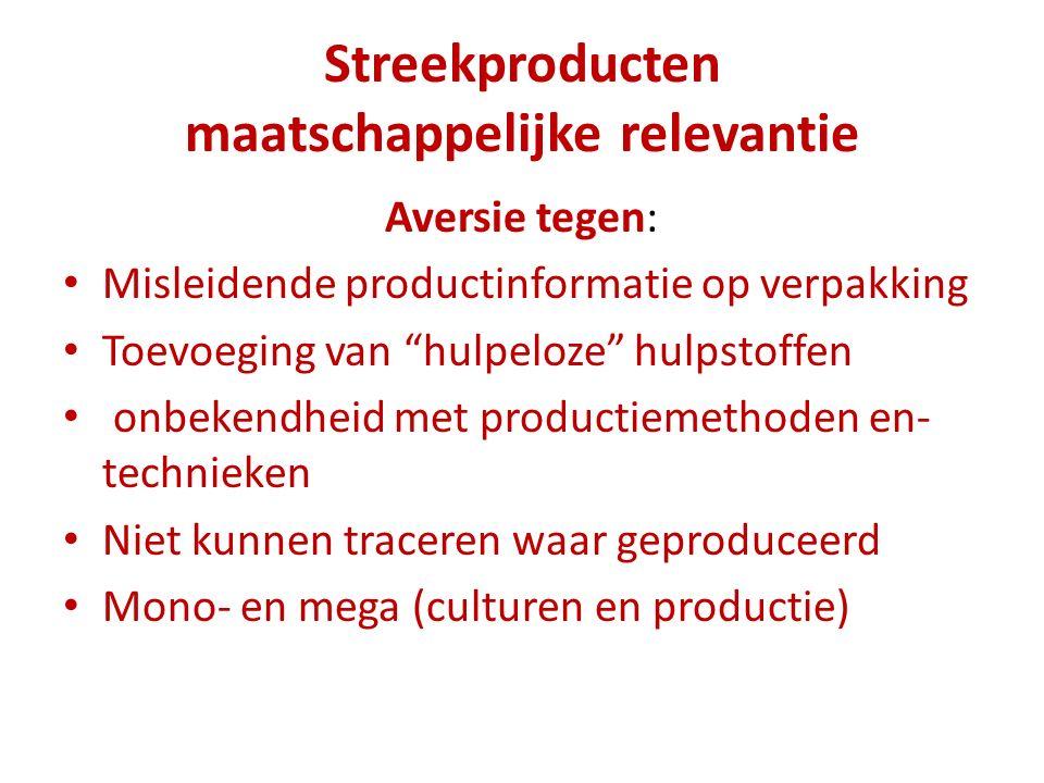 """Streekproducten maatschappelijke relevantie Aversie tegen: Misleidende productinformatie op verpakking Toevoeging van """"hulpeloze"""" hulpstoffen onbekend"""
