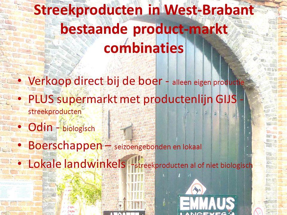Streekproducten in West-Brabant bestaande product-markt combinaties Verkoop direct bij de boer - alleen eigen productie PLUS supermarkt met productenlijn GIJS - streekproducten Odin - biologisch Boerschappen – seizoengebonden en lokaal Lokale landwinkels - streekproducten al of niet biologisch