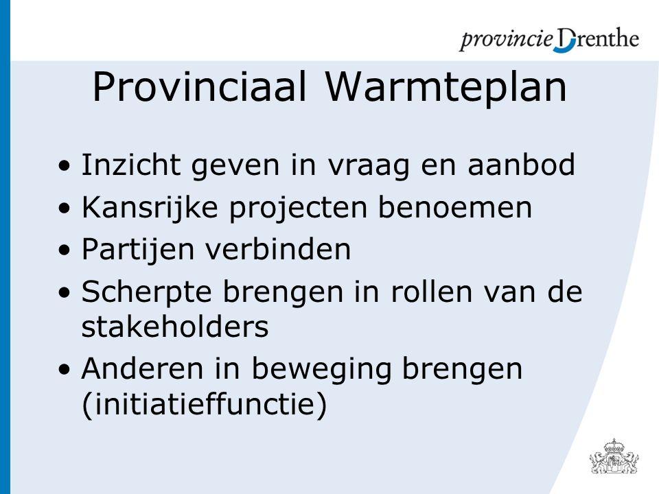 Provinciaal Warmteplan Inzicht geven in vraag en aanbod Kansrijke projecten benoemen Partijen verbinden Scherpte brengen in rollen van de stakeholders Anderen in beweging brengen (initiatieffunctie)