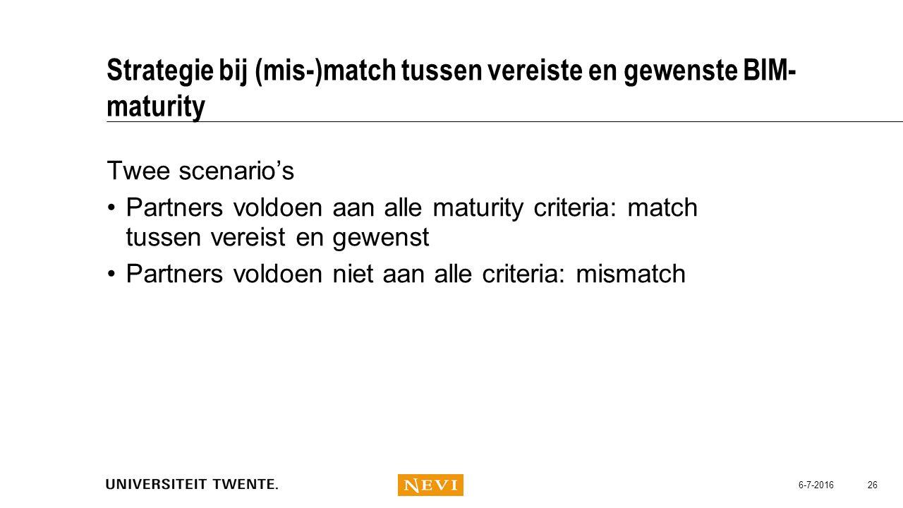 Strategie bij (mis-)match tussen vereiste en gewenste BIM- maturity Twee scenario's Partners voldoen aan alle maturity criteria: match tussen vereist