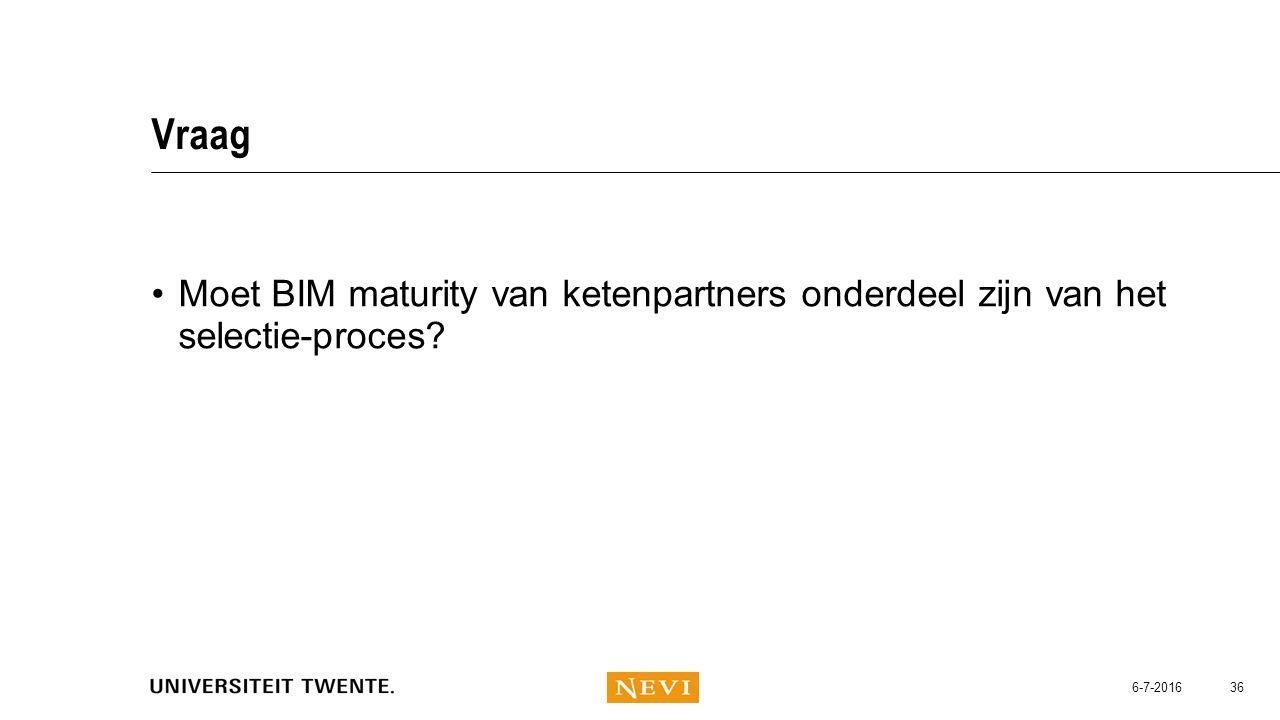 Vraag Moet BIM maturity van ketenpartners onderdeel zijn van het selectie-proces? 6-7-2016 36