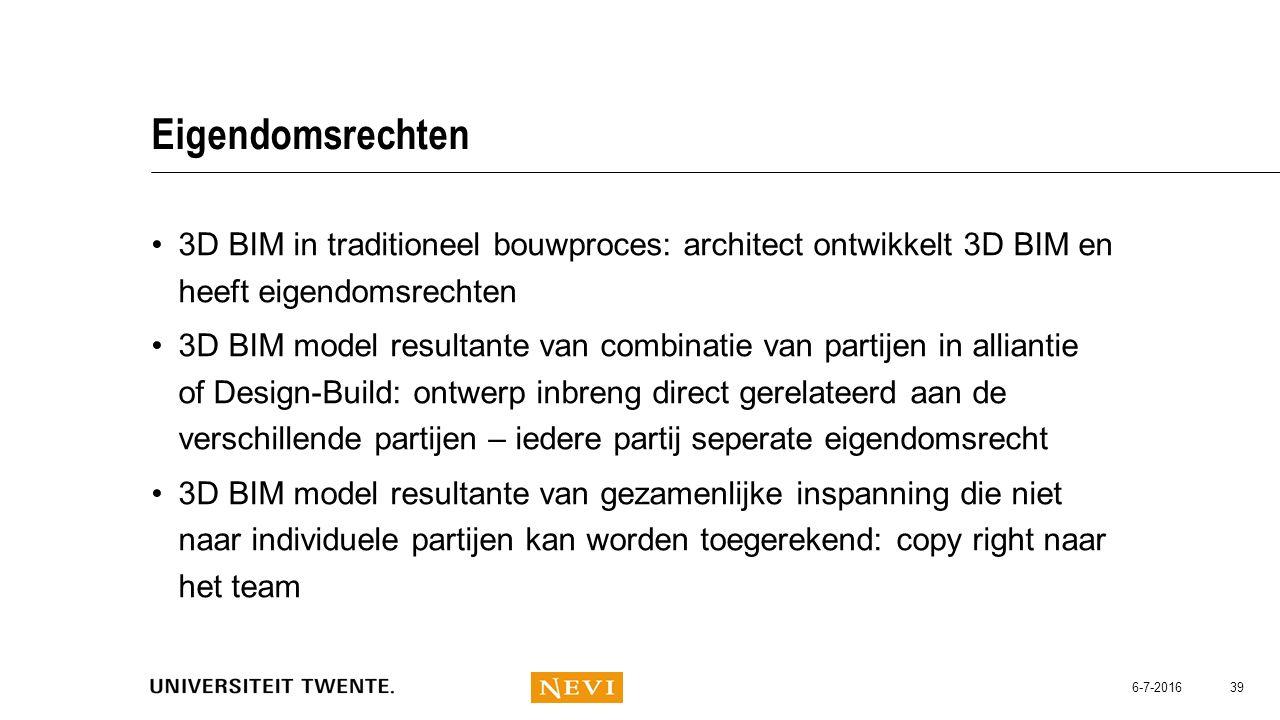 Eigendomsrechten 3D BIM in traditioneel bouwproces: architect ontwikkelt 3D BIM en heeft eigendomsrechten 3D BIM model resultante van combinatie van p