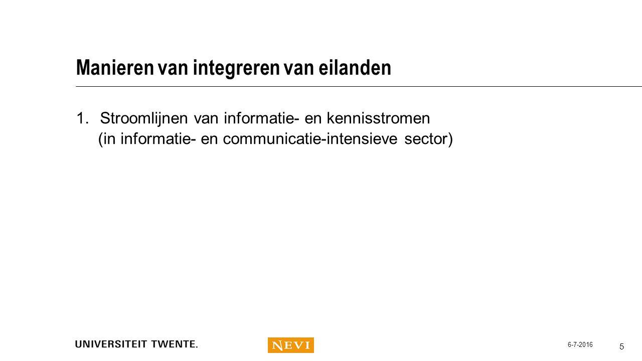 Manieren van integreren van eilanden 1.Stroomlijnen van informatie- en kennisstromen (in informatie- en communicatie-intensieve sector) 5 6-7-2016