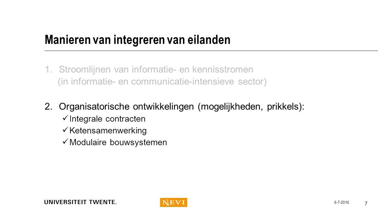 Manieren van integreren van eilanden 1.Stroomlijnen van informatie- en kennisstromen (in informatie- en communicatie-intensieve sector) 2.Organisatori